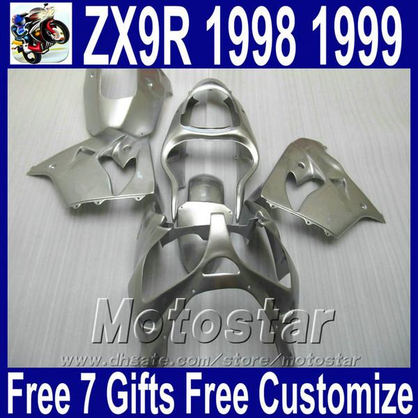 Motorcycle body kits for Kawasaki ZX9R fairings 1998 1999 ninja 98 99 ZX 9R all silver ABS plastic fairing kit SG13