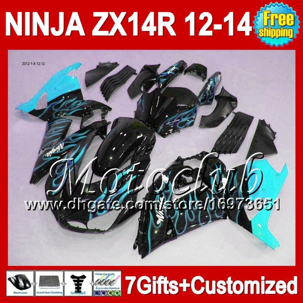 7gifts Für KAWASAKI NINJA ZX14R Cyan Flammen 12-13 ZX 14R 25C245 ZX-14R 2012 2013 Cyan-Schwarz ZX 14 R 12 13 12 13 ZX14 R