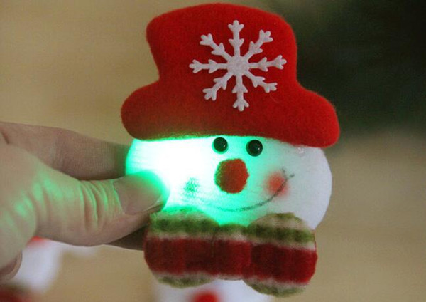 christmas 3.5inch flash cloth art brooch Santa Claus luminous brooch Christmas decorations Christmas gifts free shipping BP001P