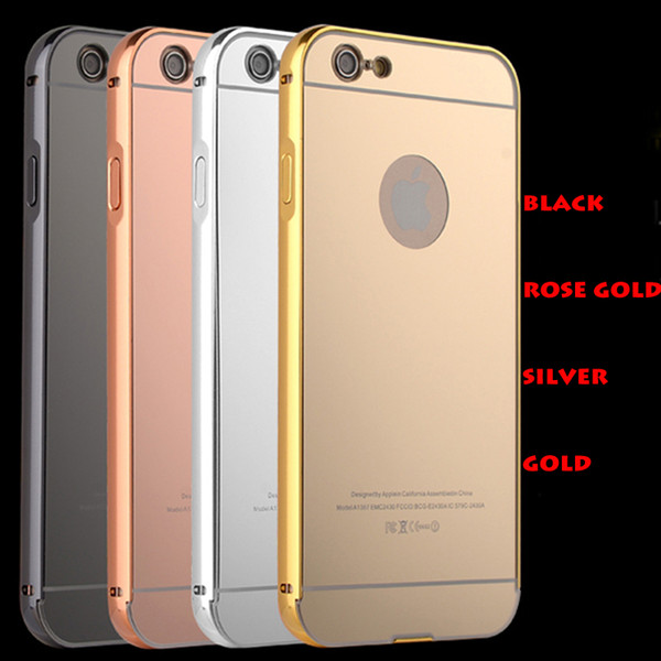 For iPhone7 7plus Cases With Aluminum Metal Bumper Frame Acrylic Mirror Back Cover Fit iPhone 5 6 6plus 5 Colors Available DHL Free SCA061