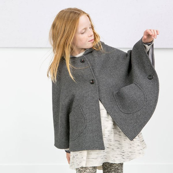 Babies Girls Hoodie Wool Blend Capes Poncho Gray Color Batwing Sleeve Pockets Casual Fashion Jackets Outwears Fall Winter Clothing