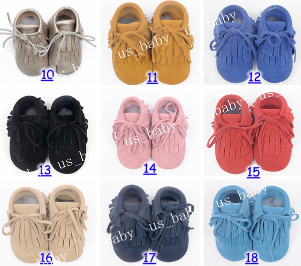 top popular 2016 baby cow leather moccasins infant suede leather moccs sweet girls fringe boots 2layer tassel 54colors choose free fedex ship 2019