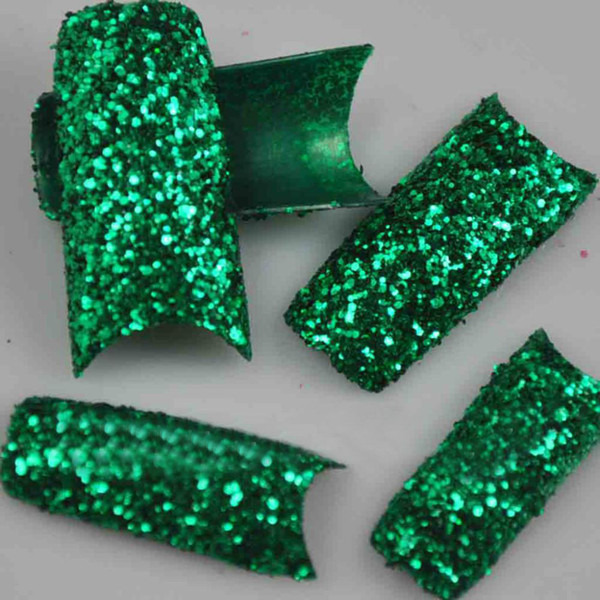 Wholesale-MN-100PCS/PACK Beauty Glitter Green Sparkle Slice Style French False Nail Art Tips NEW