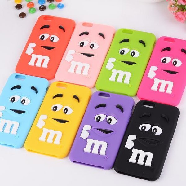 for iphone 6 for iphone 6plus cases M&M's chocolate candy rubber silicone cartoon cell phone case covers free shipping