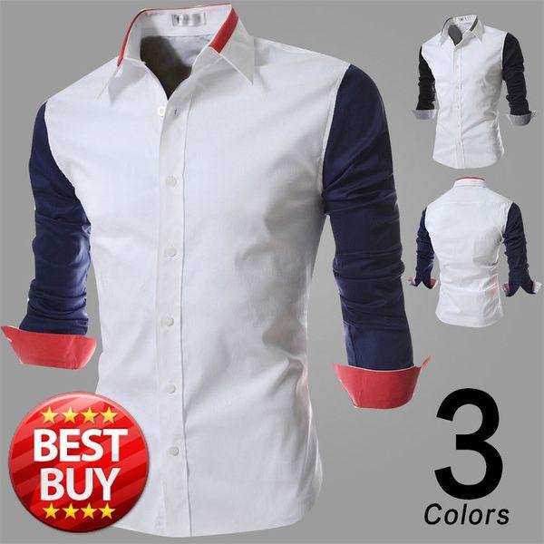 FG1509 Casual Shirt 2015 Spring Fashion Mens Black Blue Splice Long Sleeves White Cotton Shirts Casual Brand Slim Fit