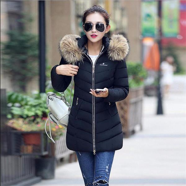 top popular Wholesale-Special Offer!Fashion Winter Coat Woman Raccoon Fur Collar Warm Winter jackets Woman Parkas Long Outerwear Thicken Down Jacket 2019