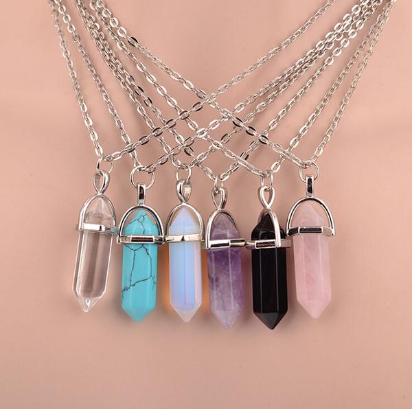 Cristal de Quartz Pierre point Chakra Guérison Gemme Collier Pendentif Pour Femmes