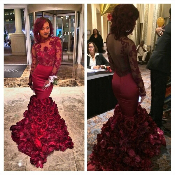 best selling Romantic Red Evening Dress Mermaid With Rose Floral Ruffles Sheer Prom Gown With Applique Long Sleeve Prom Dresses With Bra Sweep Train
