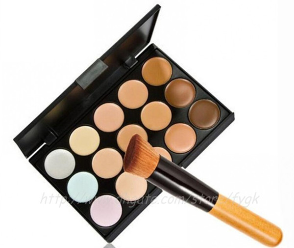Professional 15 Colors Concealer Foundation Contour Face Cream Makeup Palette Pro Tool for Salon Party Wedding Daily With Brush