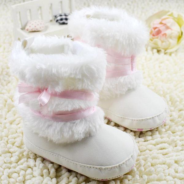 Nouveau-né Bébés filles Chaussures Bowknot Souple Berceau Chaussures Toddler Infant Warm Chaussures Chaussures First Walker bébé Chaussures Hiver