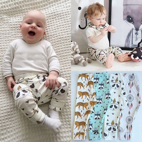 INS Baby Leggings Pants Infants Cartoon Animals Geometry Feather Trousers Kids Cotton PP Harem Pants For Autumn Clothing Free DHL 413