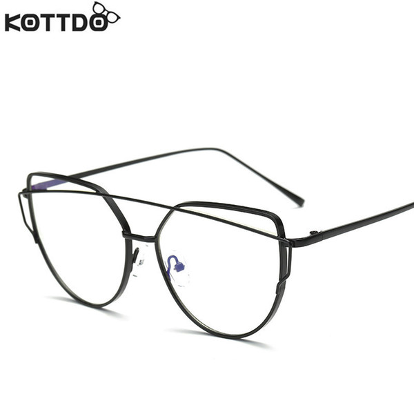 Wholesale- KOTTDO New Retro Lady Frame Computer Reading Gold Metal Frame Man Woman Fashion Glasses  Designer Girl Cool 2017