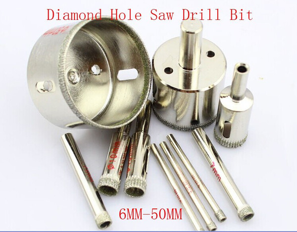 15pcs 6mm-50mm Assorted Diamond Coated Hole Saw Drill Bit Set Kit Cutter for use in drill hole on glass, marble tile or granite