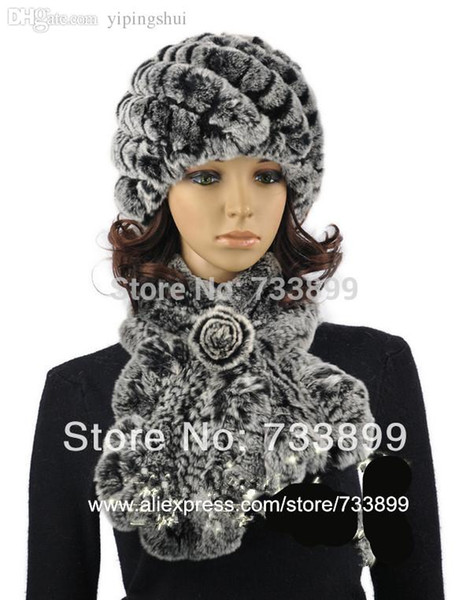 Wholesale-H902- Elegant women autumn winter natural rex rabbit fur caps sets.ruffler flower 2 colors warm knitted hat and scarf