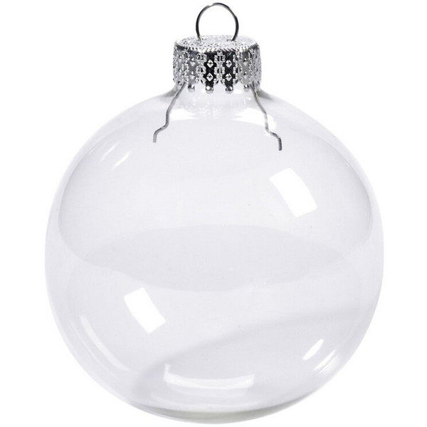 "top popular Wedding Bauble Ornaments Christmas Xmas Glass Balls Decoration 80mm Christmas Balls Clear Glass Wedding balls 3""   80mm Christmas Ornaments 2020"