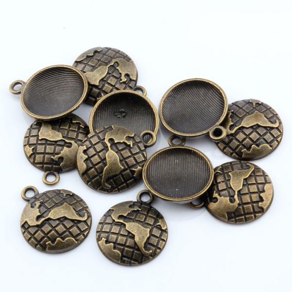 Hot ! 150pcs Antique Bronze Zinc alloy Earth Map Globe Charm pendants 20x24mm DIY Jewelry