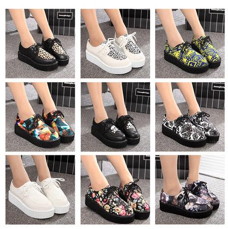 2015 New Fashion Women Spring Autumn British Goth Punk Creepers Flats Printed 18 Styles Lace-up Skull Boat Shoes