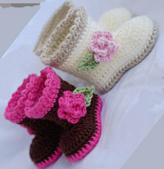 2015 Comfortable Hand Knitted Baby Shoes newborn crochet booties crochet shoes nit boots children Newbornsole shoes 0-12M cotton