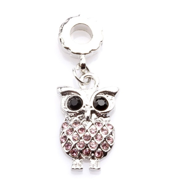 5 colors Big Hole Loose space Beads owl charms pendants For Pandora DIY Jewelry Bracelet women jewelry wholesales freeshipping