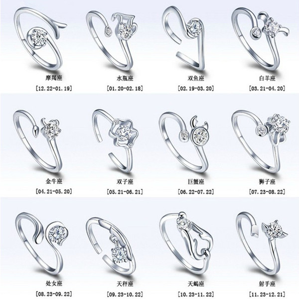 Newest 925 sterling silver zodiac opening ring wholesale LEO horoscope women ring with crystal rhinestone