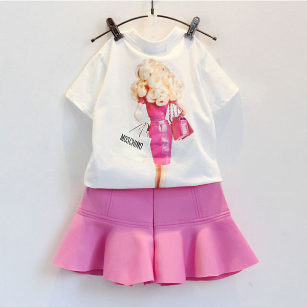 Summer children clothes girl cartoon suit set t-shirt+skirt 2 pieces 100% cotton pink color 4s/l