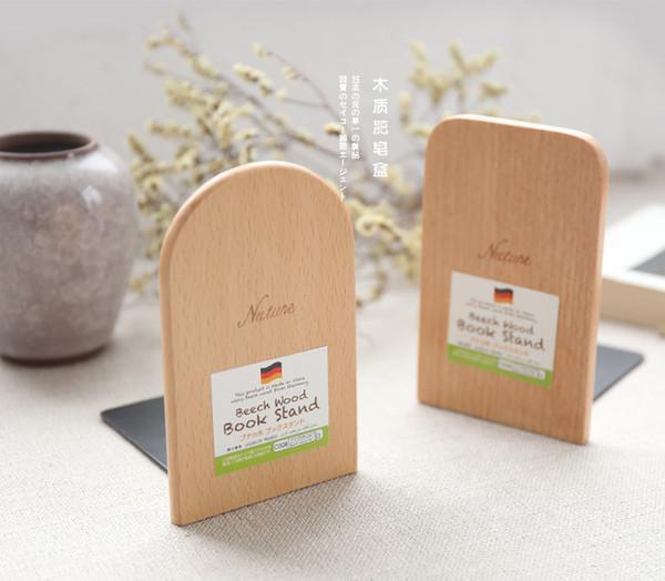 2 pcs / lot concis style nature hêtre bois livre stand Zakka style bois serre-livres japonais style originalité Creative livre extrémités