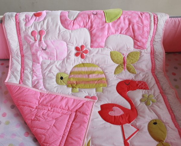 7 pieces girl baby bedding set Three-dimensional embroidery The home of flamingos quilt bedskirt Mattress Cover bumper children bedding set