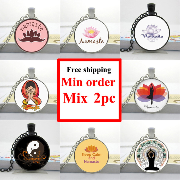 NS--00345 Personalized Picture Necklace Namaste Necklace Namaste Jewelry Art Glass Pendant