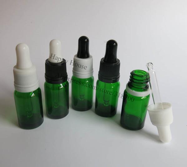 Spedizione gratuita - bottiglia di plastica con contagocce di vetro verde da 360 x 10 ml, 10 cc di bottiglia di olio essenziale di vetro verde vuoto con contagocce