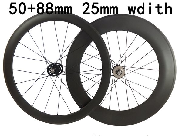 Track carbon Road Bike wheels front 50mm rear 88mm 25mm width carbon bicycles fixed gear wheelsets 3K weave glossy matte finish