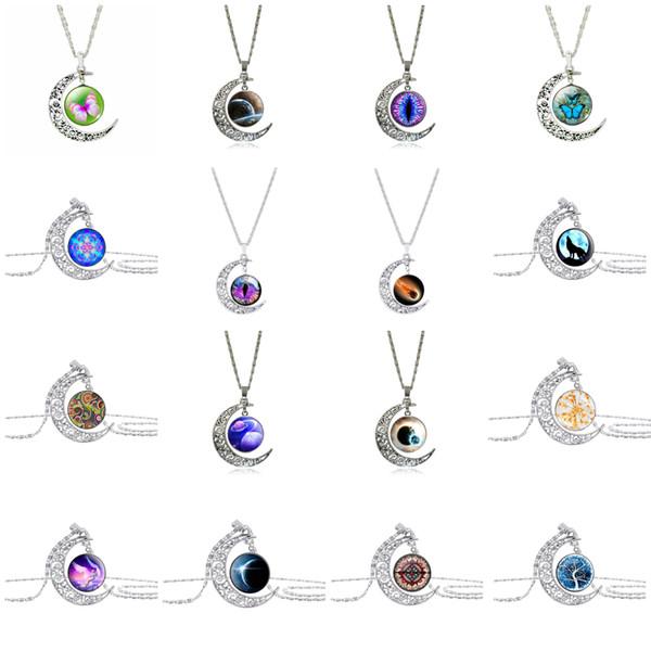 Женская мода ассорти полые резные Луна драгоценный камень кулон ювелирные изделия ожерелья для партии подарки (с цепи)