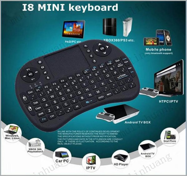 Mini i8 Clavier Touch Fly Air Mouse batterie chargeable USB Câble Portable 2.4G Rii Mini i8 Sans Fil Clavier Souris Combo Touchpad PC X10