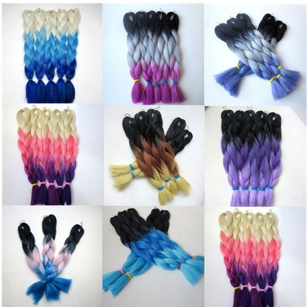 Kanekalon Synthetic Jumbo Braiding Hair 20 24inch 100g Black&Gray&Light Purple Ombre three tone colors Hair Extensions 8colors optional