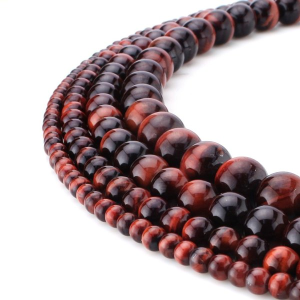 Natural Stone Red Tiger Eye Beads Round Rose Quartz Gemstone Loose Beads for DIY Bracelet Jewelry Making 1 Strand 15 Inches 4-10 mm