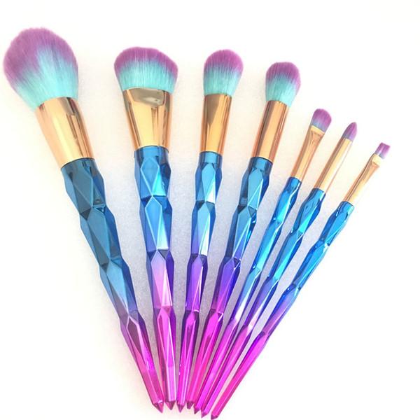 7 teile / satz 3D Diamant Make-Up Pinsel Professionelle Make-Up Pinsel mit Glitter Blau Diamant Griff Make-Up Pinsel für Gesichtspuder Lidschatten Lip