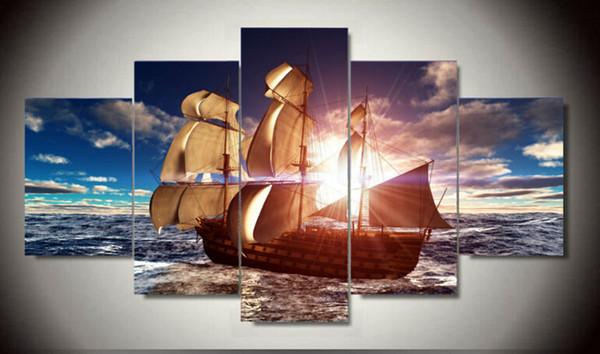 Emoldurado Modern Wall Art Casa Decoração Pintura A Óleo Impressa Fotos HD Cópias Da Lona Barco À Vela no Mar Paisagem F / 1382