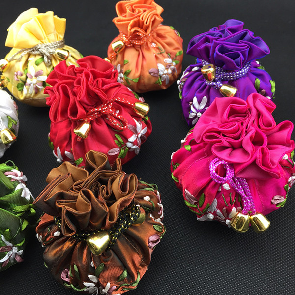 Cotton filled Round Bottom Hand Ribbon Embroidery Ball Chains Jewelry Makeup Storage 8 Pouches Bag Drawstring Satin Packaging Bags 30pcs/lot
