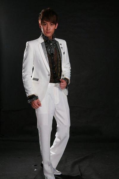 Wholesale - The latest high quality handsome white gun collar a button suit the groom suit/best man suit/work suit (jacket + pants