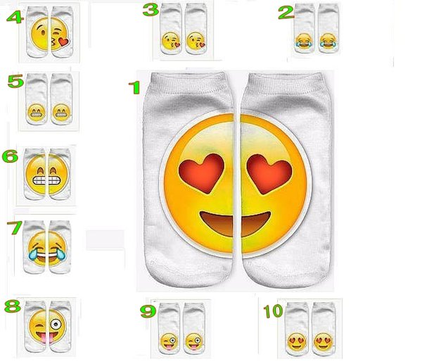 top popular 2016 newest 3D Fashion Printing Women Men Unisex Socks Emoji Pattern Meias Feminina Funny Low Ankle Socks 100pcs=50pairs 2019