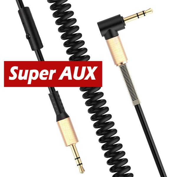 3.5mm Jack Stereo Right Angle 90° Male to Male Coiled Audio Aux Cable 50cm New