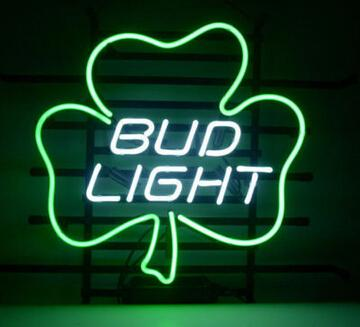 "Hot Bud Light Lucky Shamrock Neon Sign Commercial Handcrafted Custom Real Glass Tuble Neon Beer Bar KTV Club Motel Display Sign 17""X14"""