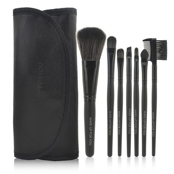 Professional 7 pcs Makeup Brush Set tools Make up Toiletry Kit Wool Brand Make Up Brush Set Case free shipping PY free shipping