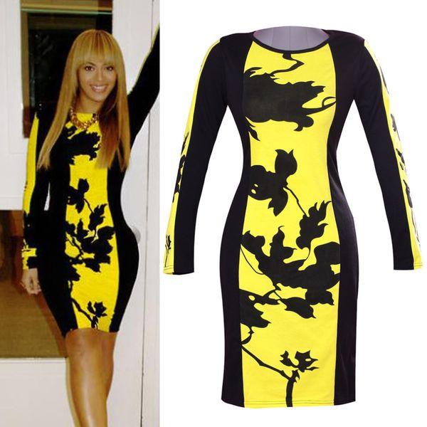 women Bodycon dress autumn winter dress lady plus size 2014 new designer yellow printed casual dresses
