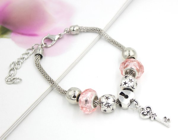 Free Shipping Wholesale DIY Charms Bracelets European Style Pink Beads Normal Key Heart Lock Bracelets Jewelry Cheap Gift
