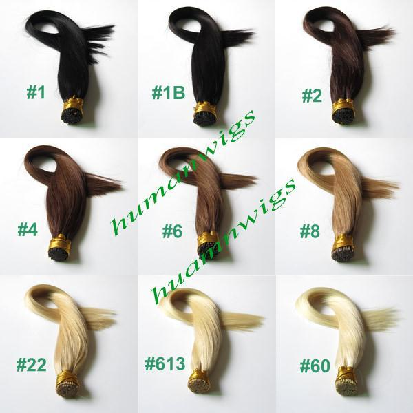 """20"""" 100g Thickly Remy Stick Tip Indian Human Hair Extensions, I-tip Hair Extensions, Jet Black #1, 1g/pcs 100pcs/lot Free Shipping"""