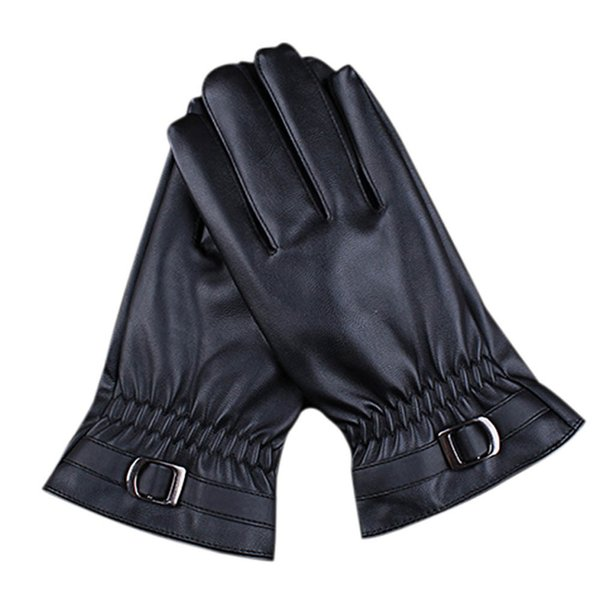 Wholesale-New brand 2015 fashion Leather Cashmere Gloves for Mens Winter Warm Mittens
