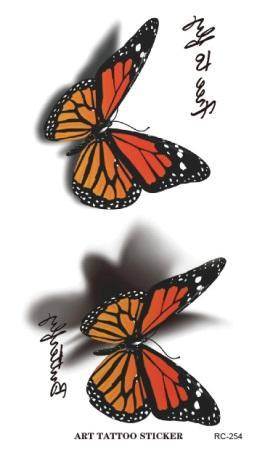 Waterproof 3d Tattoo Sticker Butterfly Letter Design Temporary Tattoo Foil Decal Fashion Body Art Flash Fake Tattoo Sticker