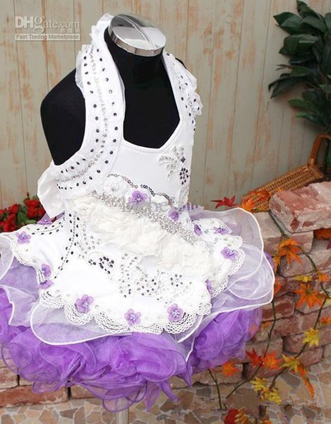 Haltert Ball Gown Cupcake Custom Made Girls Pageant Party prom Dresses Infant Mini Crystals Organza