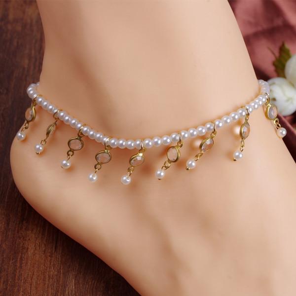 Kristallperlen-Korn-Fußkettchen-Quasten-Fuß-Schmuck-barfuß-Sandalen Knöchel-Armbänder für Frauen und Mädchen C011