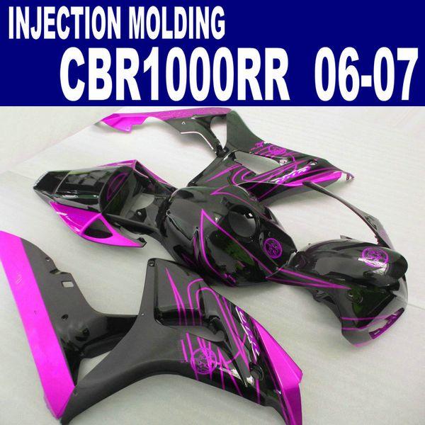 ABS plastic fairing kit for HONDA Injection molding CBR1000RR 06 07 black red motobike CBR 1000 RR 2006 2007 fairings set AQ16